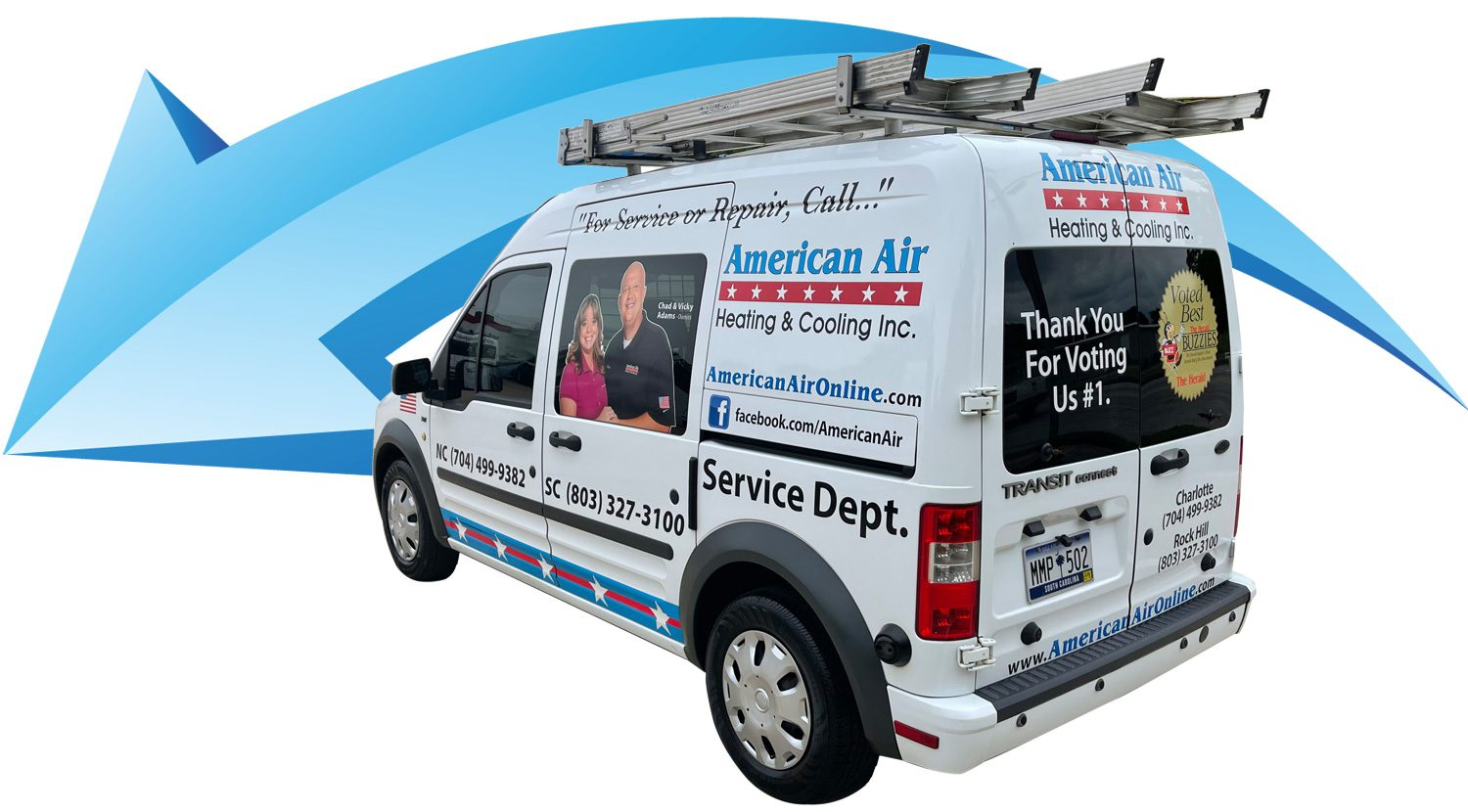 American Air Heating & Cooling   company van in front of blue arrow